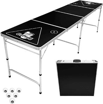 Picture of black beer pong table with 6 balls and a folded version of the table