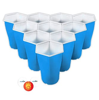 Picture of blue HEXCUP product, these cups are the best for playing beer pong