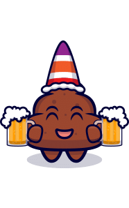 Picture of cute poop cartoon with a hat holding two beers and smiling