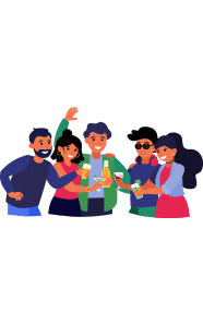 Illustration of a group of people smiling and holding drinks